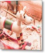 Small Xmas Reindeer On Wood Shavings In Workshop Metal Print