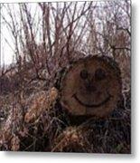 Smiley Log Metal Print