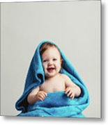 Smiling Baby Tucked In A Warm Blanket Metal Print