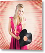 Smiling Dj Woman In Love With Retro Music Metal Print