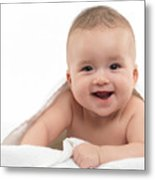 Smiling Four Month Old Baby Boy Metal Print