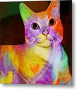 Smiling Kitty Metal Print