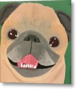 Smiling Senior Pug Metal Print