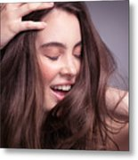 Smiling Young Woman With Long Brown Hair Metal Print