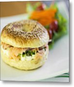 Smoked Salmon And Cream Cheese Bagel Metal Print