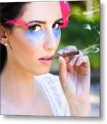 Smoking Glamour Metal Print