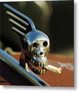 Smoking Skull Hood Ornament Metal Print