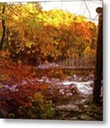 Smoky Mountain Suspension Bridge Oil Painting Metal Print
