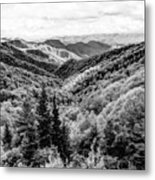 Smoky Mountains In Black And White Metal Print