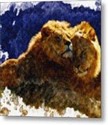 Smooching Lions Metal Print