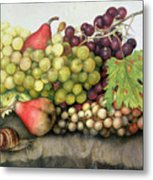 Snail With Grapes And Pears Metal Print