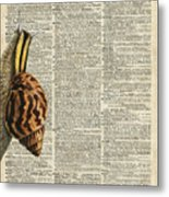 Snail Worm On Dictionary Page Metal Print