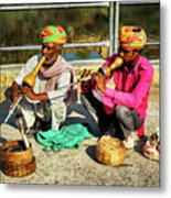 Snake Charmer And Apprentice Metal Print