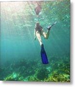Snorkeling In Coral Reef Metal Print