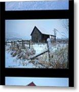 Snow And Barn Trio Metal Print