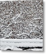 Snow And Bench Metal Print