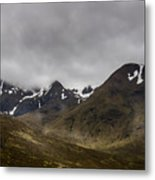 Snow And Fog Over Glengo Mountain In Scotland. Metal Print