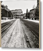 Snow At The Colosseum - Rome Metal Print