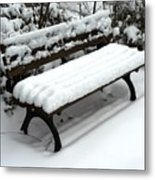 Snow Bench Metal Print