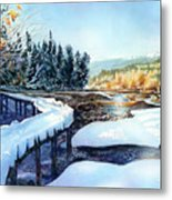 Snow Blanket Over Shoreline Trials Metal Print