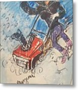 Snow Blowing Metal Print