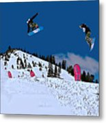 Snow Boarder Metal Print