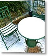 Snow Cafe Metal Print by Alison Mae Photography