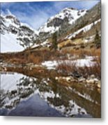 Snow-capped Refections Metal Print