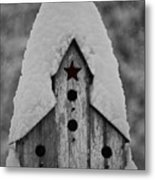 Snow Covered Birdhouse Metal Print