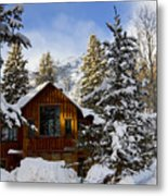 Snow Covered Cabin Metal Print