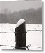 Snow Covered Fence Post Metal Print