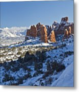 Snow-covered Fins And La Sal Mountains Metal Print