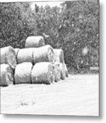 Snow Covered Hay Bales Metal Print