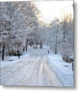 Snow Covered Lane In Paint Metal Print