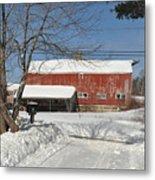 Snow Covered Masachussetts Barn Metal Print