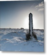 Snow Covered Post II Metal Print