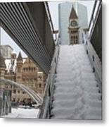 Snow Covered Stairs Metal Print
