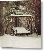 Snow Covered Swing Metal Print