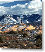 Snow Covered Utah Mountain Range Metal Print