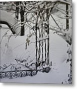 Snow Covered Wisteria Arch Metal Print