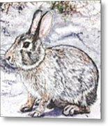 Snow Day Bunny Metal Print