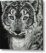 Snow Dragon Leopard Metal Print