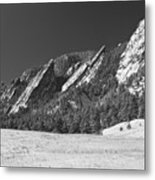 Snow Dusted Flatirons Boulder Co Panorama Bw Metal Print