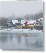 Snow Falling On Boathouse Row Metal Print