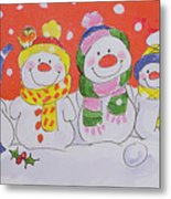 Snow Family Metal Print