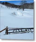 Snow Fence Metal Print