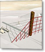 Snow Fence Metal Print