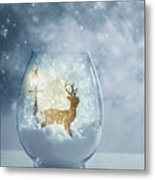 Snow Globe For Christmas With Reindeer Metal Print