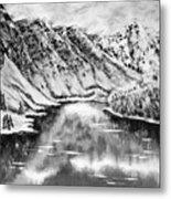 Snow In November Black And White Metal Print