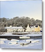 Snow In Red Wharf Bay Wales Metal Print